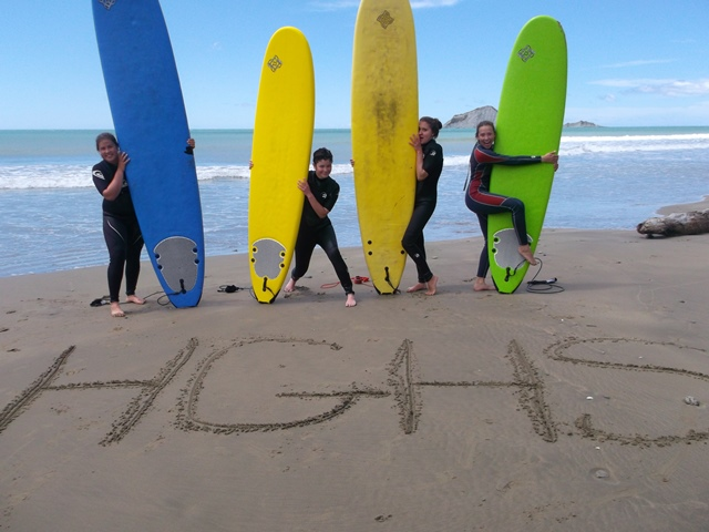 European girls at surfing lessons