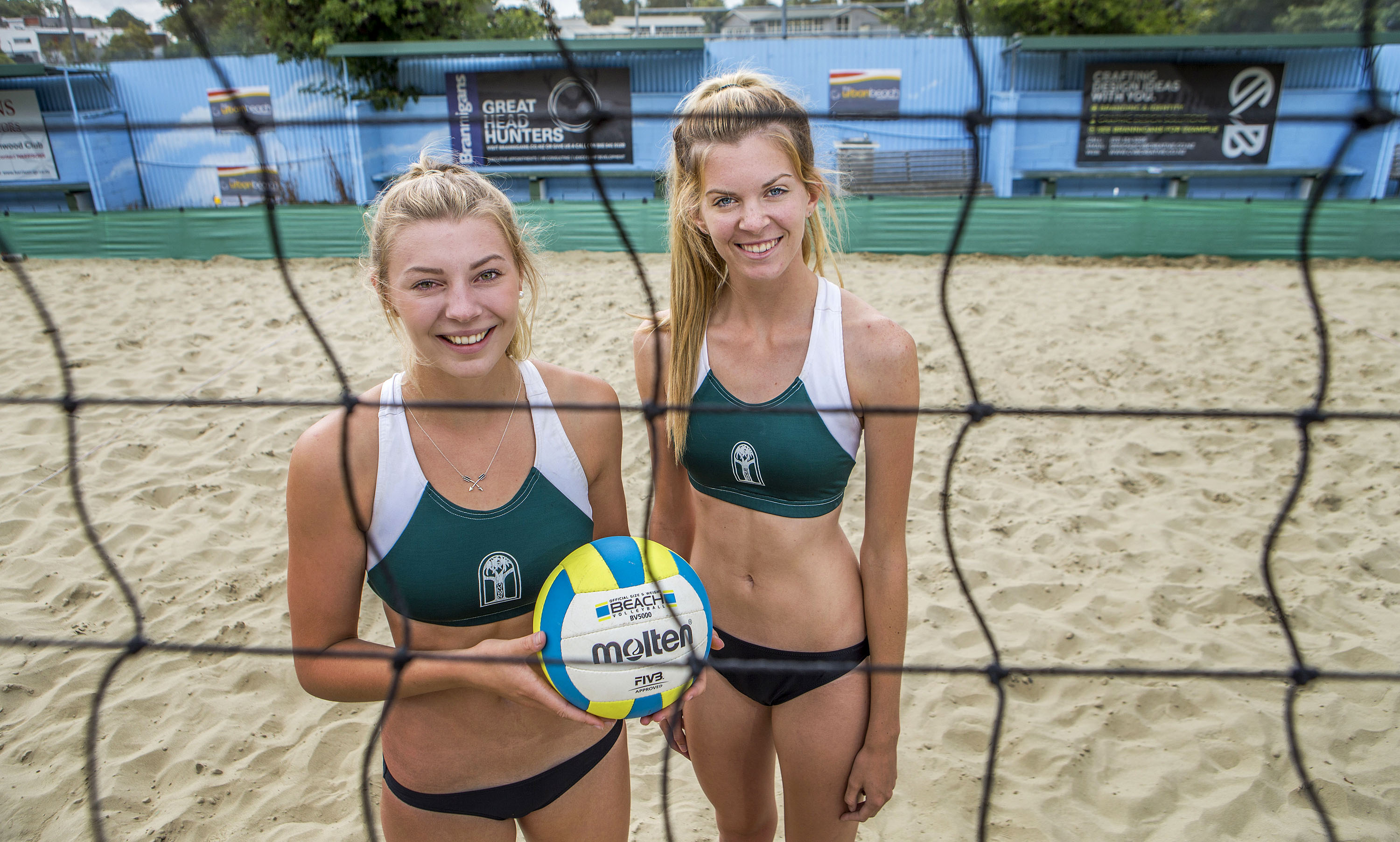 23022016 News Photo: John Kirk-Anderson/Fairfax  Alice Zeimann, 17, left, and Chynae Stark, 17, national beach volleyball winners.